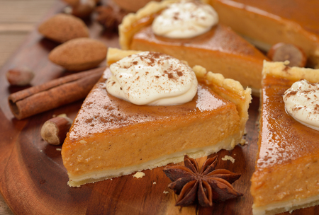 Pumpkin pie on a brown background Stock Photo