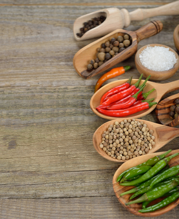 seasonings: Spices and seasonings on a wooden background