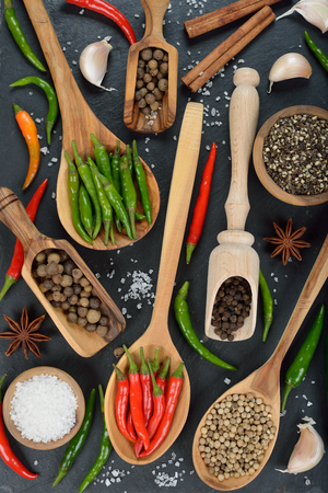 seasonings: Spices and seasonings on a black background