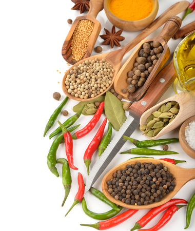 seasonings: Spices and seasonings on a white background