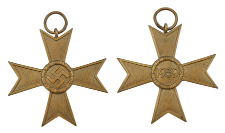 battle cross: German military medal isolated on a white background