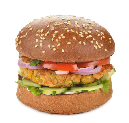 vegetarian hamburger: Vegetarian burger on a white background
