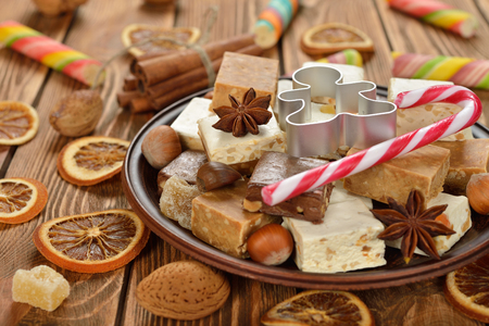 nougat: Various Christmas nougat on a brown background