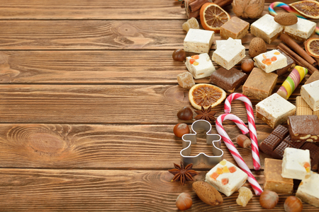 nougat: Christmas nougat on a brown background