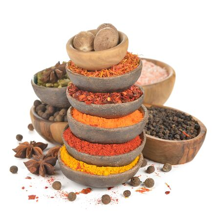 Oriental spices and seasonings on a white background