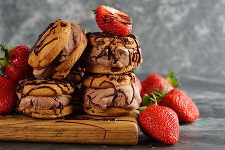 Chocolate ice cream sandwich on a gray background 写真素材