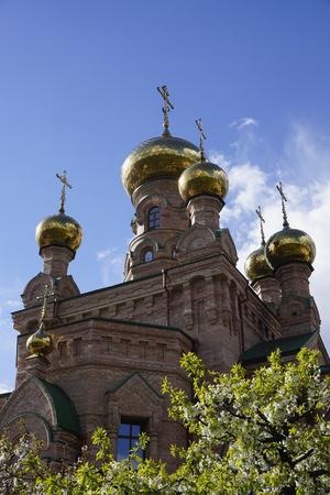 ホロシエフスカヤ・プスティン、キエフ(キエフ)、ウクライナ。オレンジレンガの修道院(修道院、教会、寺院)、十字架と金色のドー