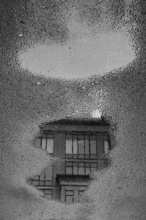 Black and white. Puddle reflection with houses, windows, sewer hatchs, street lanterns, trees without leaves. Grey asphalt surface Stock Photo