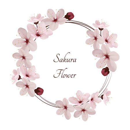 Sakura flowers vector illustration. invitation cards with a blossom sakura. Invitation wedding.