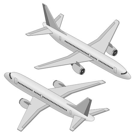 Isometric plane on a white background. Flat 3d isometric passenger plane. Large passenger Airplane 3d isometric illustration.