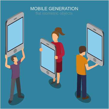 Mobile generation template with people and smart phone touch screen flat 3d web isometric infographic concept vector. Isometric people. Isometric phone. 矢量图像