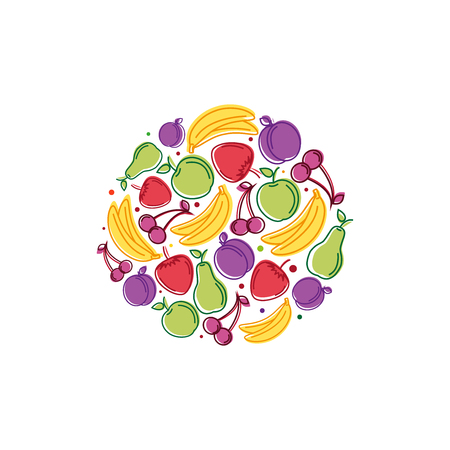 Vector logo design template with fruit icons in trendy linear style