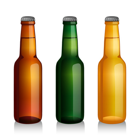 Realistic green and brown beer bottles set isolated vector illustration.