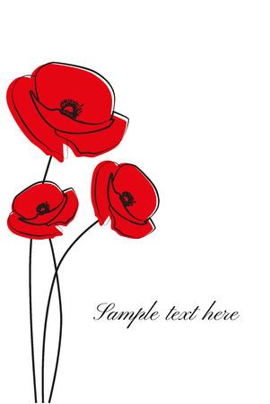 Rouge de fleur de pavot isolé sur fond blanc. Vecteur rouge des fleurs de pavot romantiques et de l'herbe. coquelicots rouges. fleur rouge.