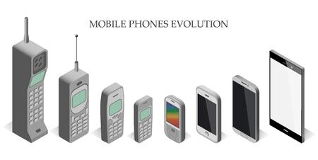 Conjunto de vectores aparatos móviles modernos y clásicos. teléfono móvil evolución isométrica del vector. teléfono móvil evolución isométrica del vector. plantilla teléfono móvil isométrica. Ilustración de vector