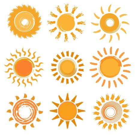 Sun icons collection. Hand drawn illustration. Vector illustration