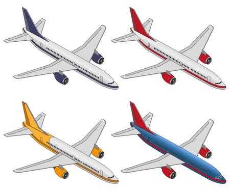 Set isometric color plane on a white background. Flat 3d isometric passenger plane. Large passenger Airplane 3d isometric illustration. 矢量图像