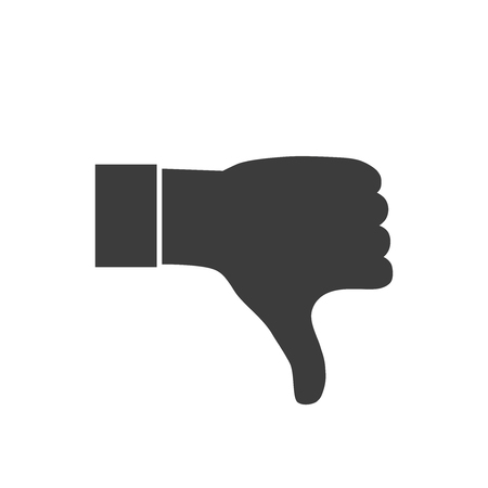 thumbs down: thumbs down or dislike hand vector icon for social media websites and mobile apps