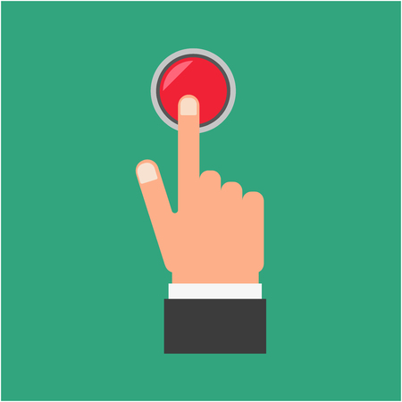 push button: Pressing button. Hand pressing the red button. Pressing finger on red button. Press button design. Man pressing button. Push button concept.