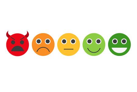 Feedback in form of emotions, smileys, emoji. Feedback vector concept. Rank, level of satisfaction rating. User experience. Customer feedback. Review of consumer. Feedback flat icon. Stock Illustratie