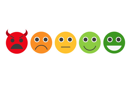 Feedback in form of emotions, smileys, emoji. Feedback vector concept. Rank, level of satisfaction rating. User experience. Customer feedback. Review of consumer. Feedback flat icon. Illusztráció