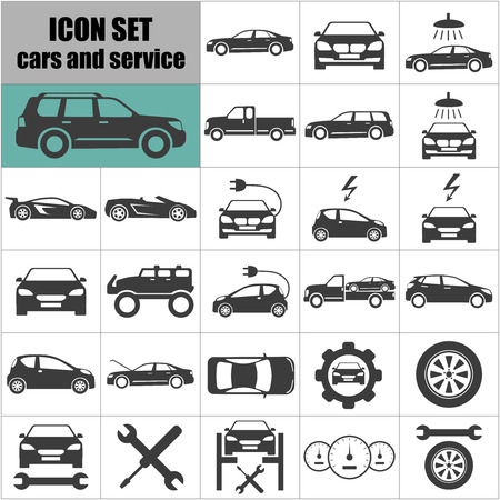 Cars and service Icons Symbol set. Auto icons set. Vector illustration.