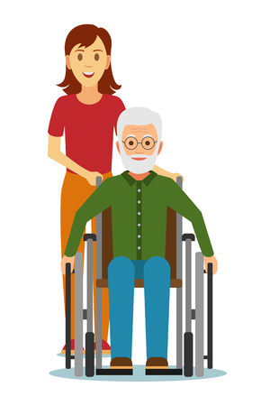 Old disabled people in wheelchairs with granddaughter