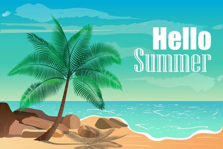 Vector illustration with tropical beach. Hello summer.