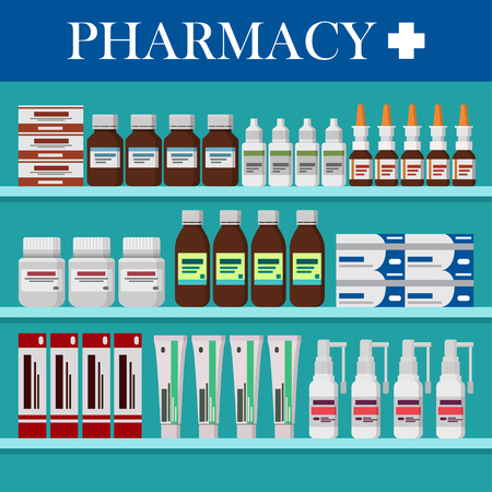 Modern interior pharmacy. Medicine pills, capsules, bottles, ointments, vitamins and tablets on pharmacy.