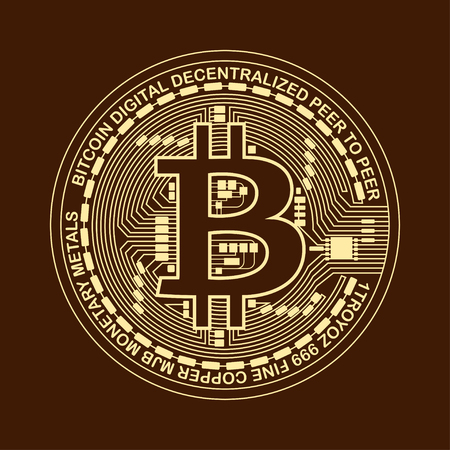 Bitcoin. Digital currency. Cryptocurrency. Bitcoin symbol isolated on brown background.