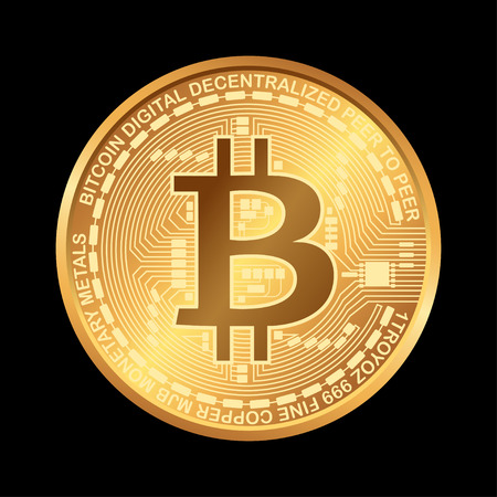 Bitcoin. Digital currency. Cryptocurrency. Golden coin with bitcoin symbol isolated on black background. 矢量图像