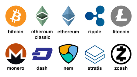 Cryptocurrency logo set - bitcoin, litecoin, ethereum, ethereum classic, monero, ripple, zcash, dash, stratis, nem