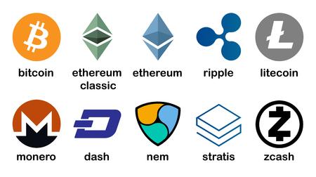 Cryptocurrency logo set - bitcoin, litecoin, ethereum, ethereum classic, monero, ripple, zcash, dash, stratis, nem