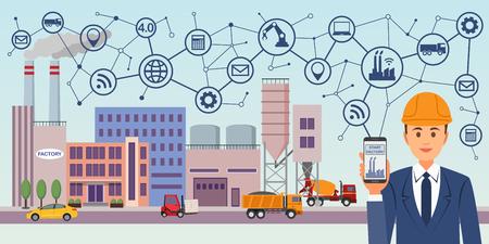 Nowoczesna cyfrowa fabryka 4.0. Obraz koncepcyjny Przemysłu 4.0. Instrumenty przemysłowe w fabryce z ikonami systemu cyber i fizycznego, siecią Internet rzeczy. Ilustracje wektorowe