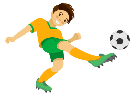 Boy playing soccer vector illustration 矢量图像