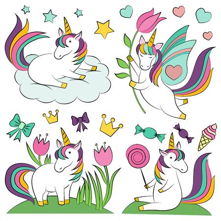 Unicorn magic design element set.