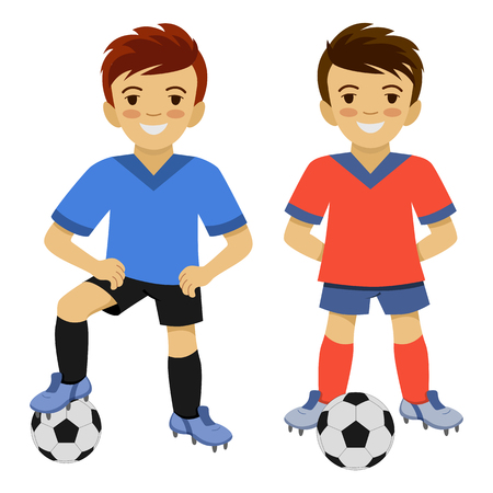 Two boys playing football. Soccer player with the ball. Stock Illustratie