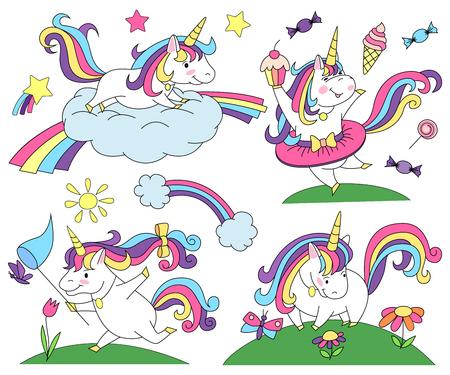 Unicorn magic design element set illustration design
