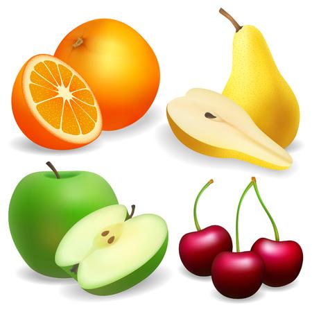 Pear, apple, orange. cherry. Set of fruit realistic.