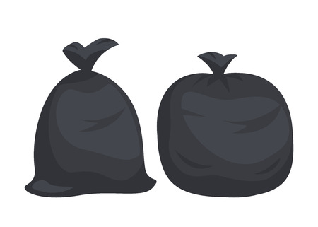 Packages with garbage. Big black plastic bags with wastes isolated on white background. Bag full of litter and rubbish. Vector illustration.