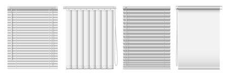 Set of horizontal and vertical window blinds. Vector realistic illustration horizontal blind curtains.