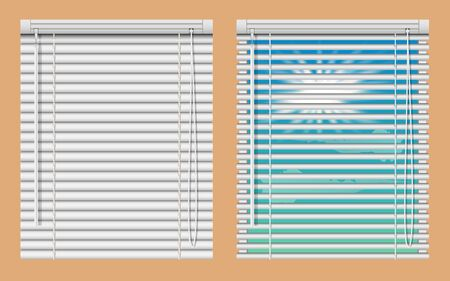 Window blinds mockup set. Vector realistic illustration windows with open and close horizontal blind curtains.