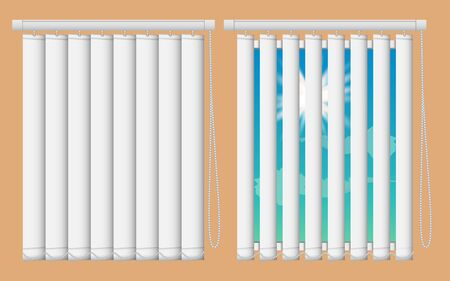 Window blinds mockup set. Vector realistic illustration windows with open and close vertical blind curtains.