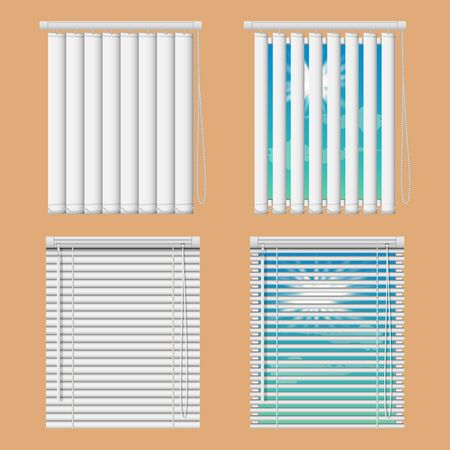 Vector realistic illustration windows with open and close horizontal and vertical blind curtains.