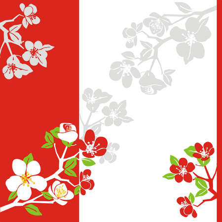 Composition from blossoming branches of an apple-tree on a red-white background with grey elements