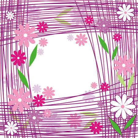 Violet-lilac composition from florets, green leaves, lines on a white background Stock Vector - 3983585