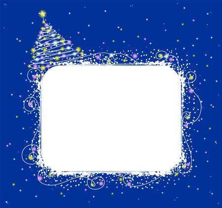 furtree: Christmas fur-tree on a dark blue background Illustration