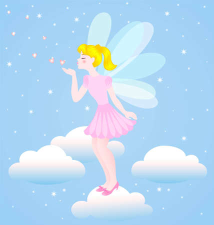 The girl the Angel in a pink dress on a background of the sky Illustration