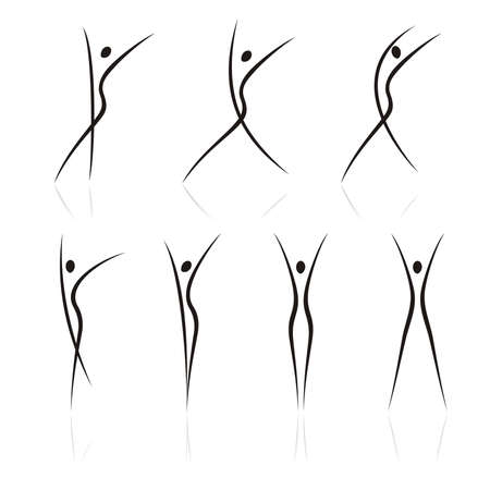 abstract figures: abstract female figures in movement Illustration