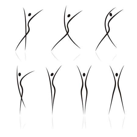 figuras abstractas: resumen figuras femeninas en movimiento